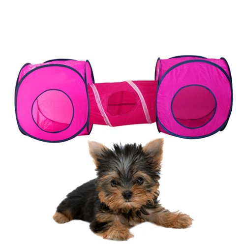 Fashionable Foldable Pop Up Pet Play Cube and Tunnel. Perfect for Dogs and Cats