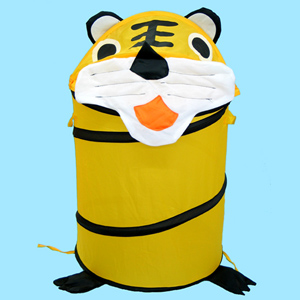 Spiral Pop Up Cartoon Tiger Storage Bin for Sundries, Clothes and Toy