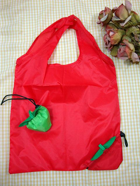 Red Polyester Strawberry Shopping Bag