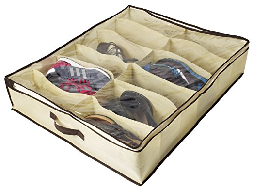 Under Bed Shoe Organizer for Kids and Adults (12 Pairs ) ,Underbed Shoes Closet Storage Solution