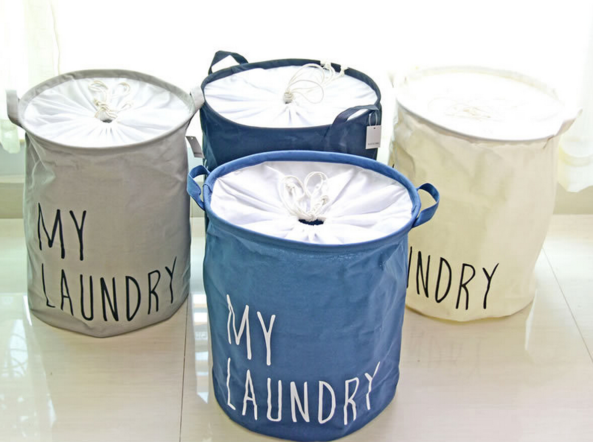 Cylinder Folding Linen Cotton Laundry Storage Basket for Sundies