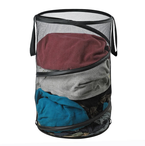 Black Mesh Folding Spiral Pop Up Laundry Hamper