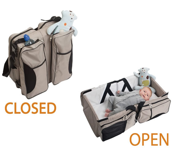 Two in One Beige Kids Baby Diaper Bag Bed Bag, Travel Cot Bag