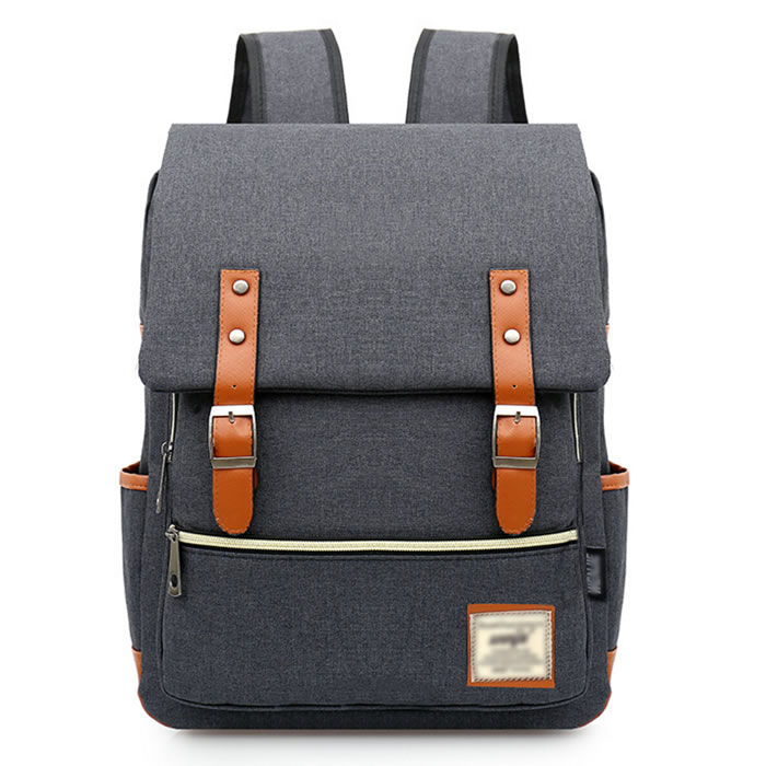 Japanese Style Grey Canvas School Backpack With Laptop Compartment