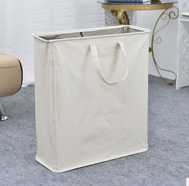Foldable Beige Polyester 2-compartment Laundry Hamper Bin