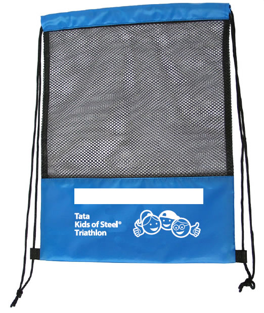 Blue 190T Polyester Promotional Drawstring Laundry Bag