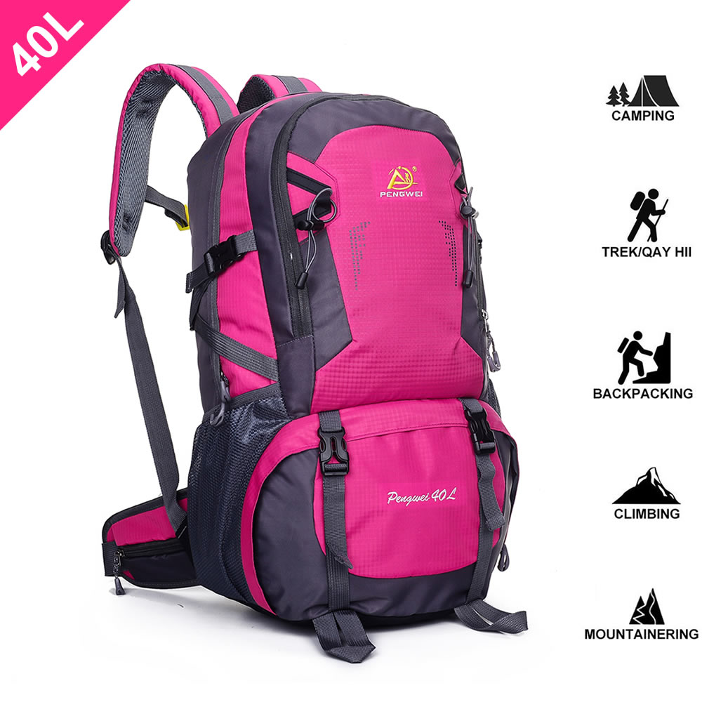 SpringOrchid Camping Hiking Daypacks Backpack - Sports Hiking Rucksack - Rosered 40L