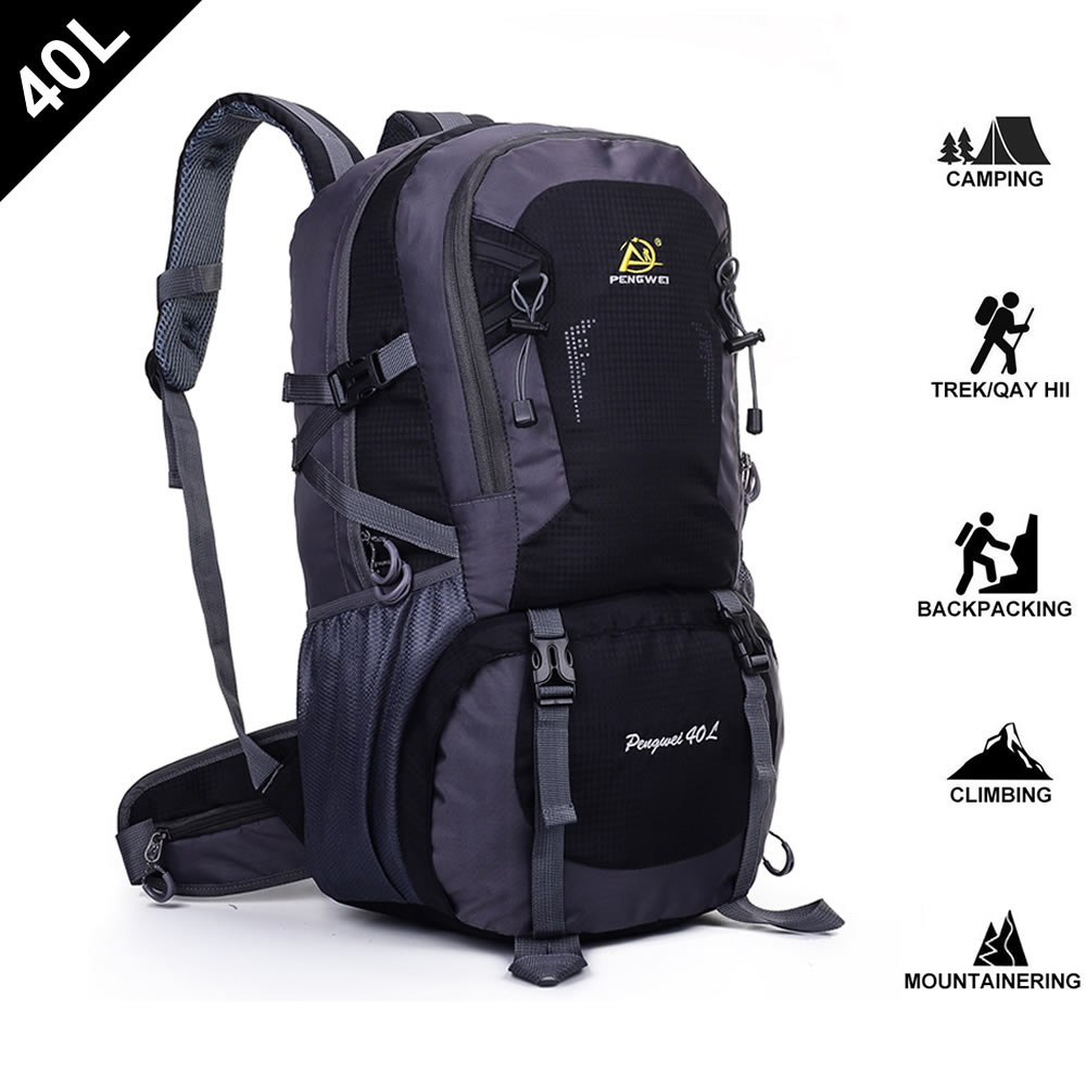 SpringOrchid Camping Hiking Daypacks Backpack - Sports Hiking Rucksack - Black 40L
