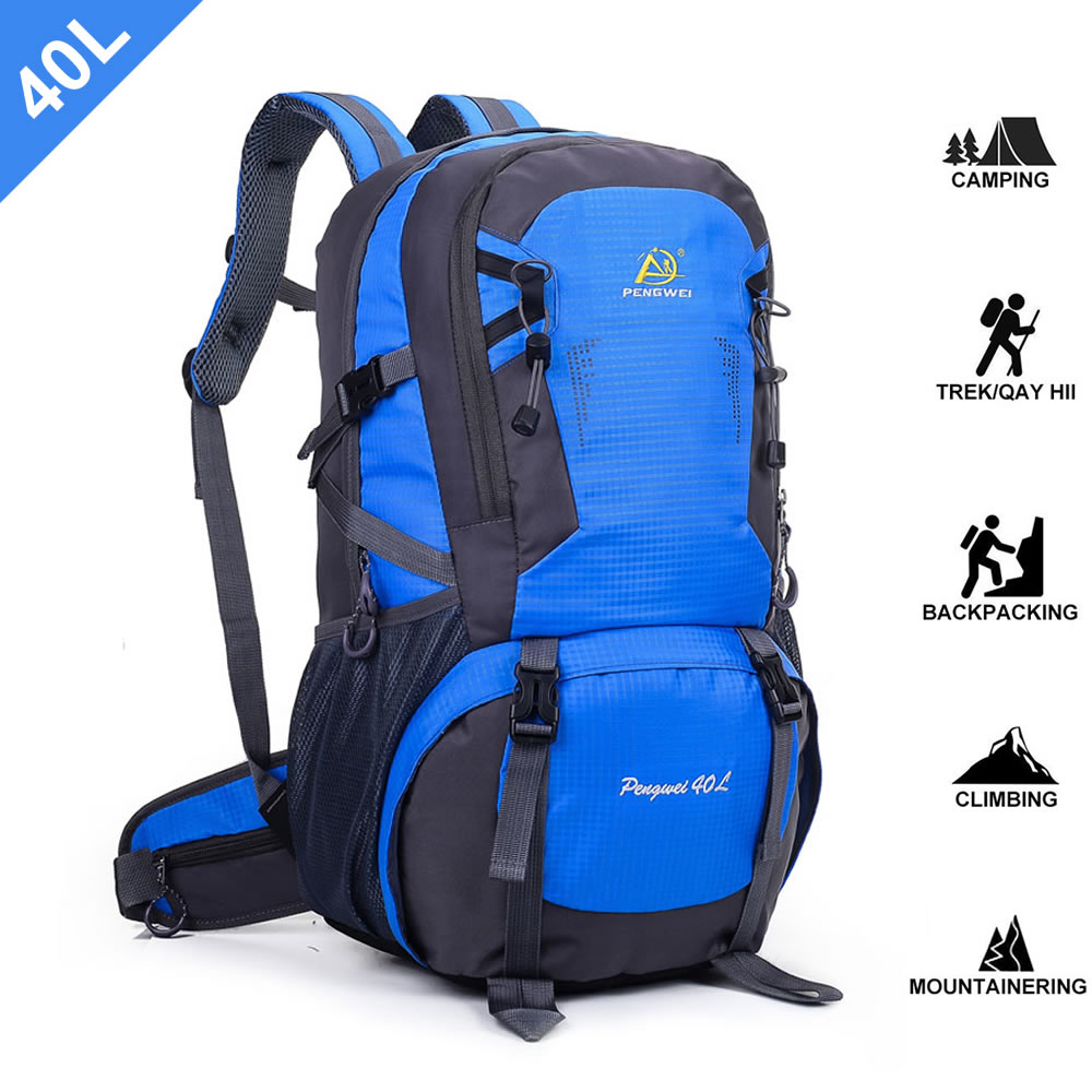 SpringOrchid Camping Hiking Daypacks Backpack - Sports Hiking Rucksack - Blue 40L